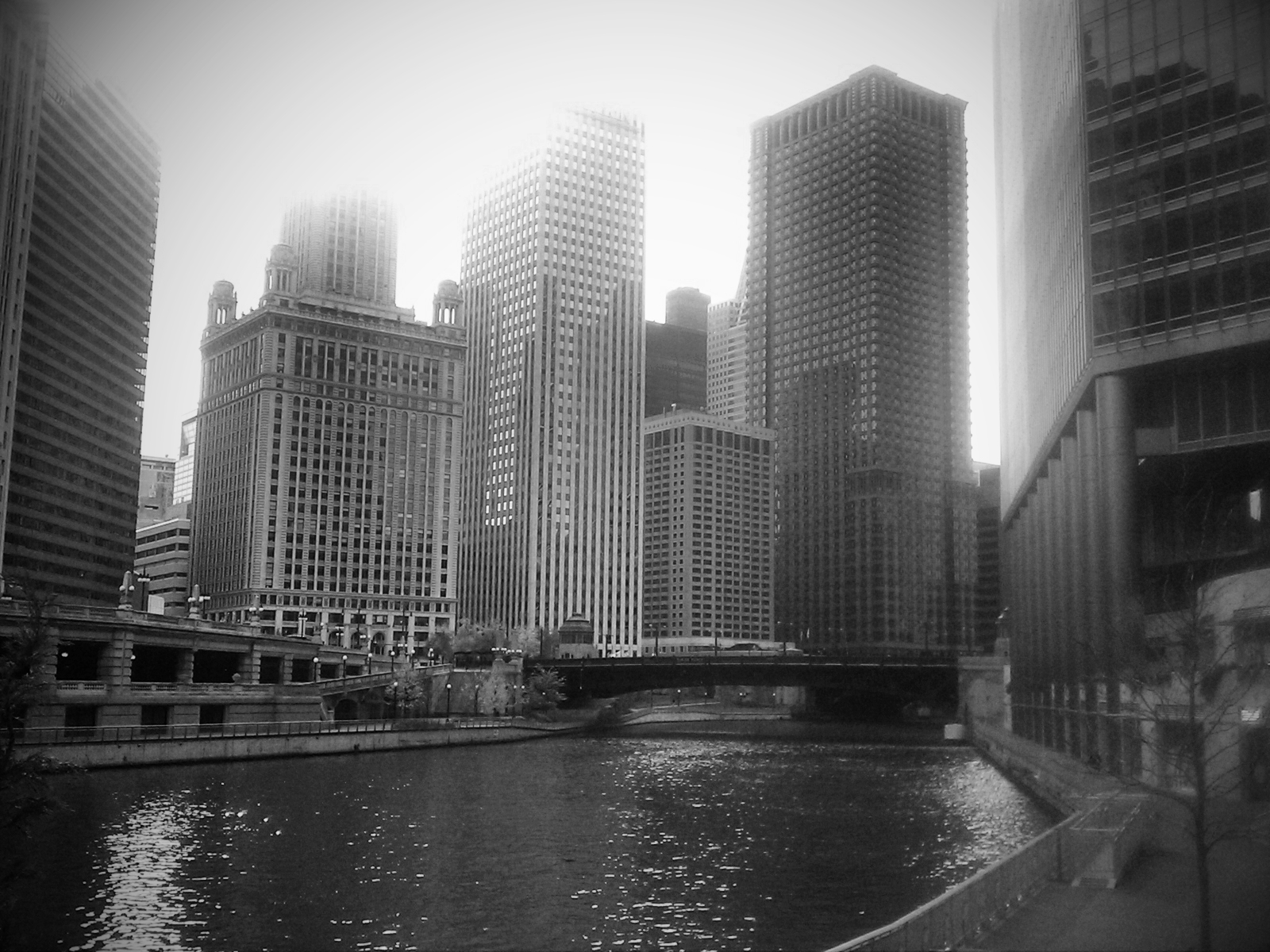 A black and white image of the Chicago River