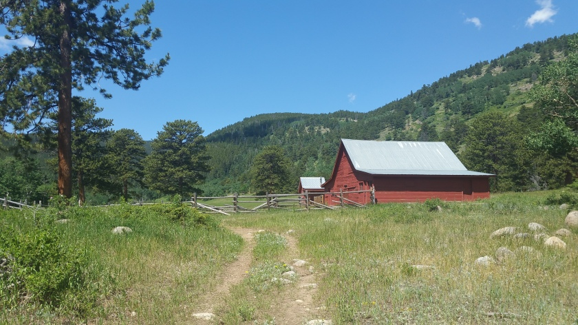 A view of an old ranch building at Caribou Ranch Open Space in Boulder County Colorado.