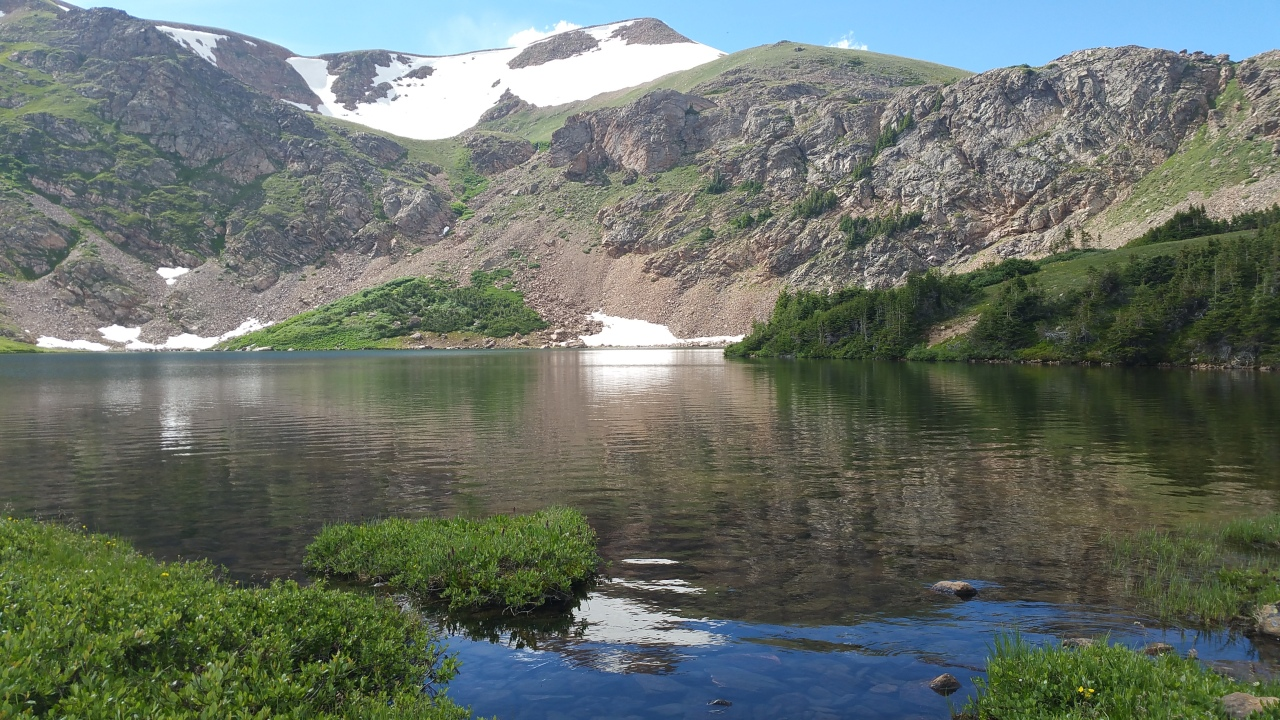 A view of Heart Lake in the James Peak Wilderness with the Continental Divide in the distance.