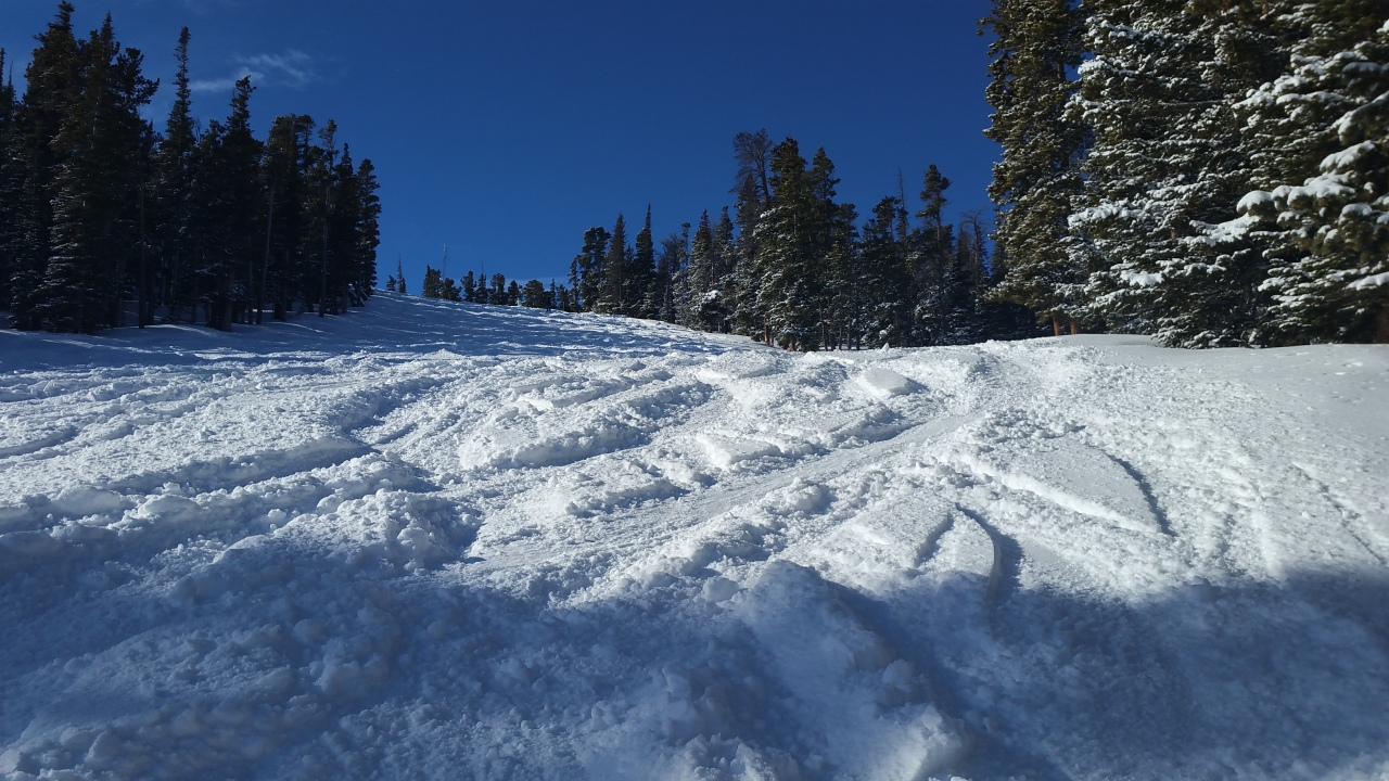 Looking up a ski run named Windmill on a beautiful day at Eldora Mountain Resort.