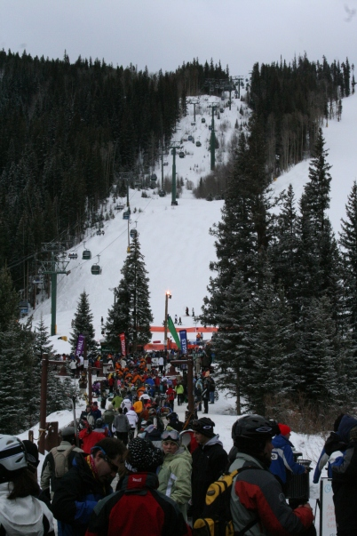 A view of the gondola at Keystone ski resort from the base.