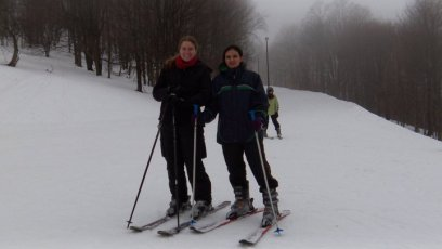 The author on skis with her friend Sukhinder at Canaan Valley Resort in West Virginia.
