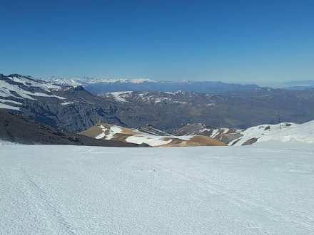 A view of the Andes Mountains from the top of a ski run known as Shake at Valle Nevado in Chile.