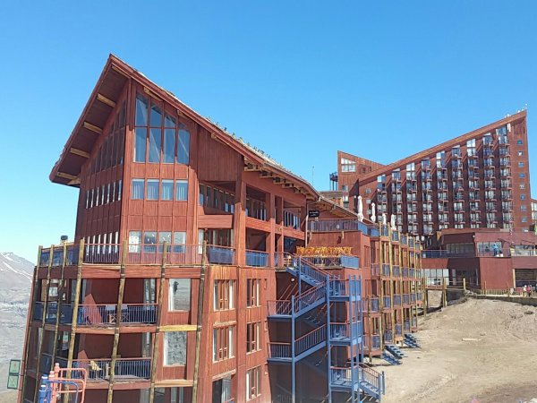 Two of the three hotels at Valle Nevado Ski Resort - Hotel Valle Nevado and Puerta del Sol