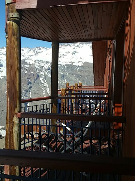 The balconies of the Hotel Puerta del Sol have a stunning view of the Andes