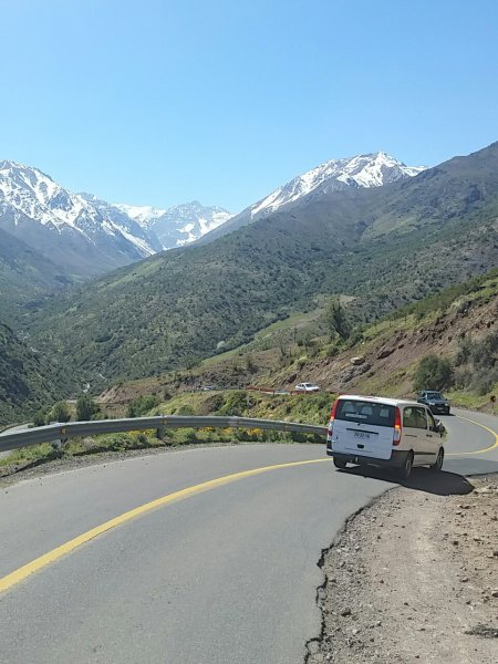 The road from Valle Nevado Ski Resort to Santiago Chile is long, windy, narrow, and stunning.